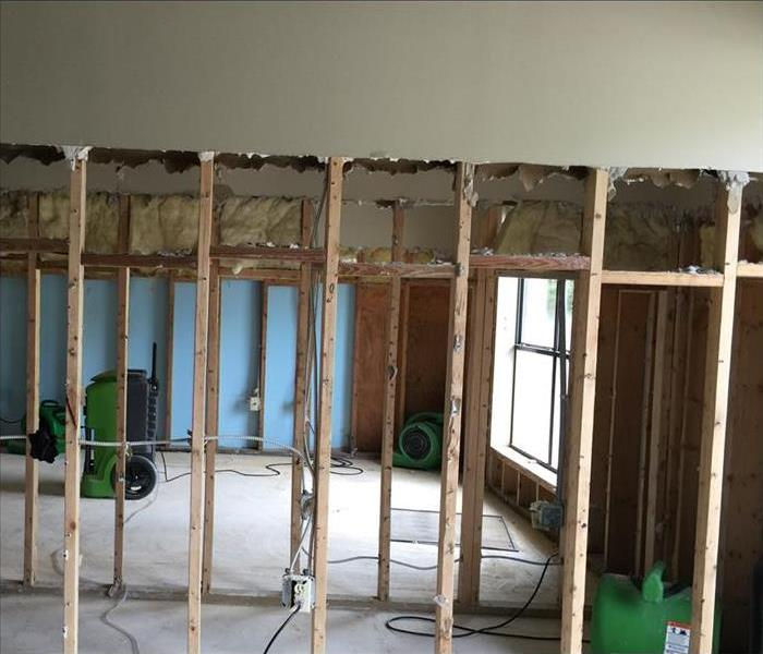 exposed beams of wall after molded drywall was removed