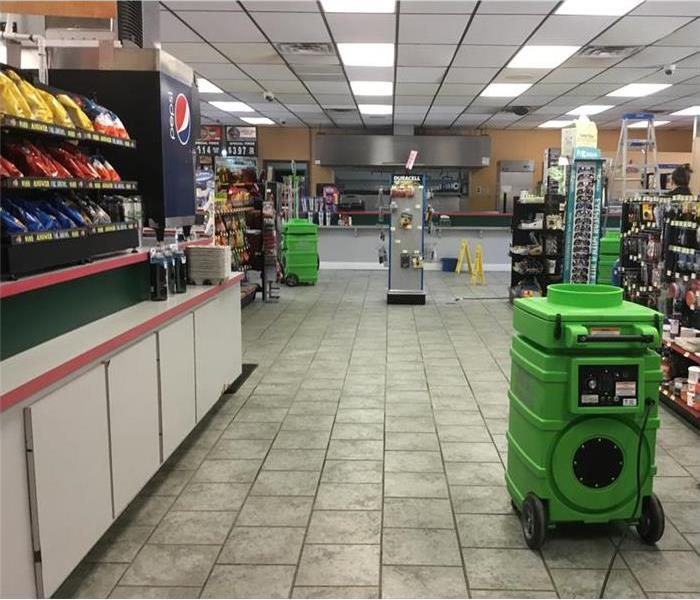 interior of gas station after fire damage