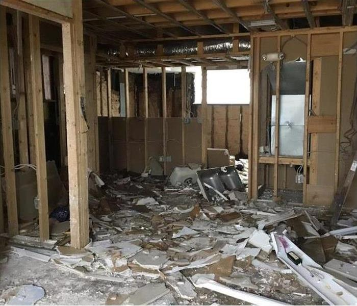 the bare bones framework of a home after all the mold contaminated materials had been removed